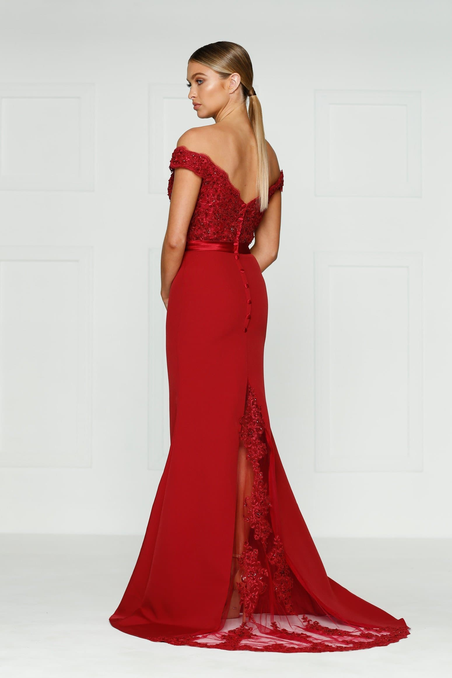 Sandy Formal Dress - Wine Red Lace Off-Shoulder Mermaid Gown