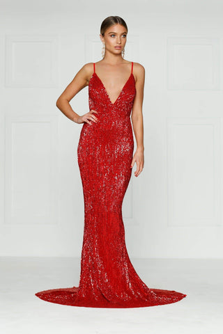 A&N Cynthia- Red Sparkling Dress with V Neck and Low Back