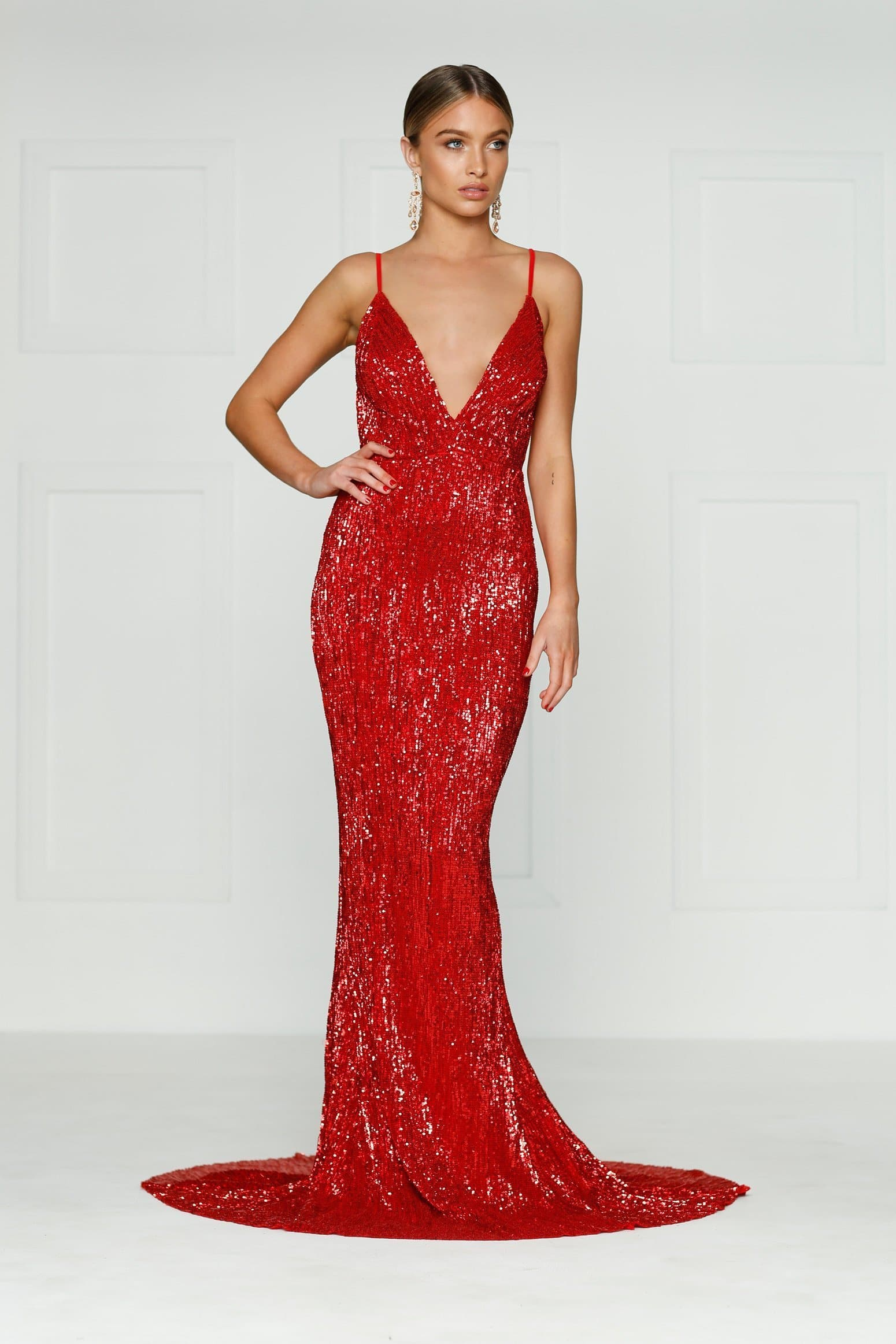 9aac6d533e A N Cynthia- Red Sparkling Dress with V Neck and Low Back – A N Luxe ...