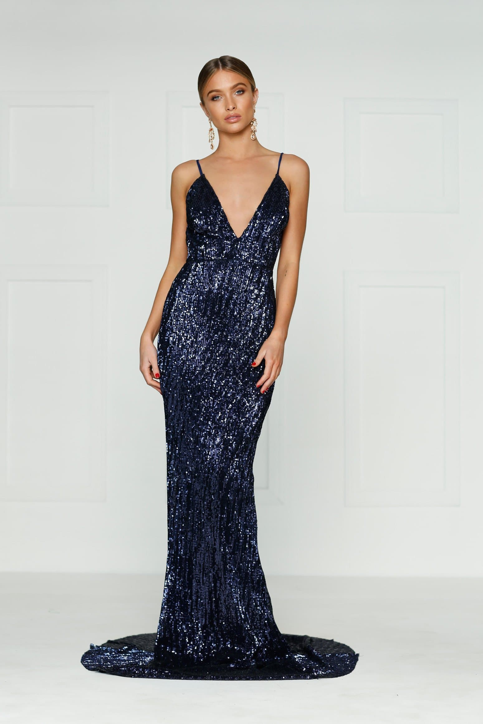 Cynthia Formal Dress - Navy Sparkling V Neck Low Back Maxi Prom Gown
