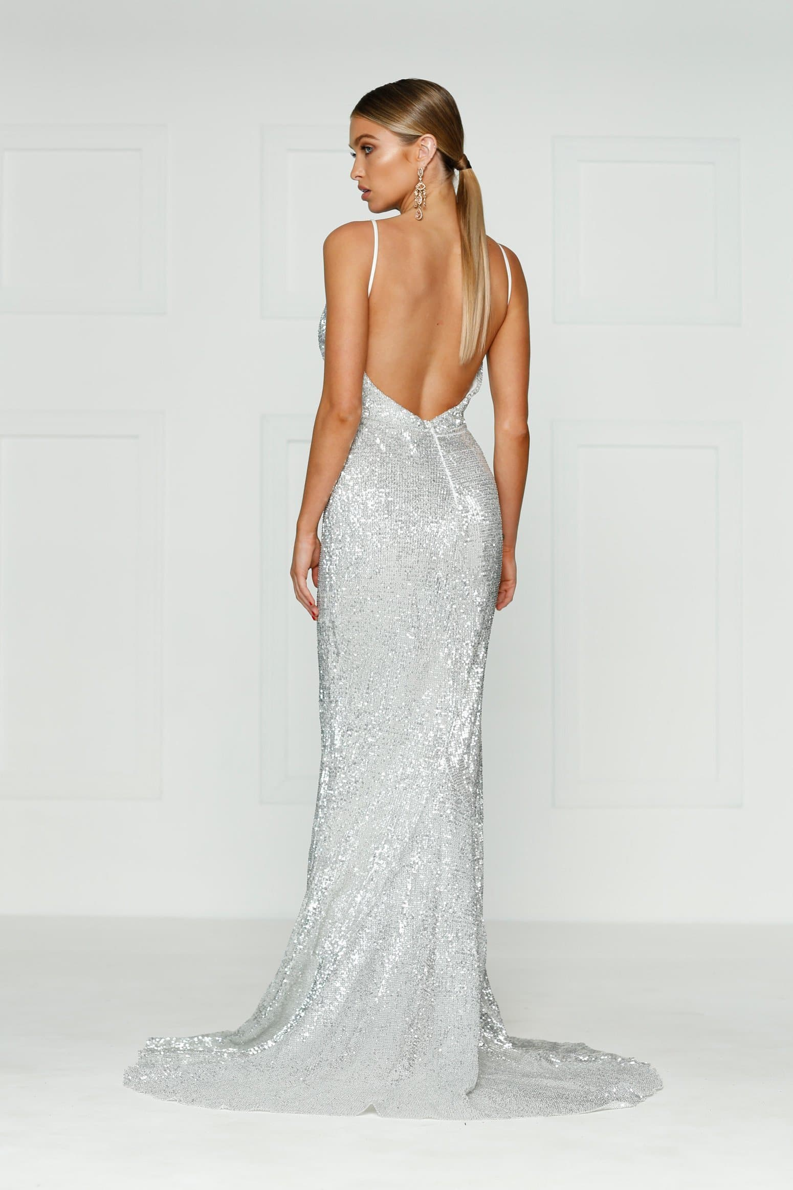 Cynthia Formal Dress - Silver Sparkling V Neck Low Back Maxi Prom Gown
