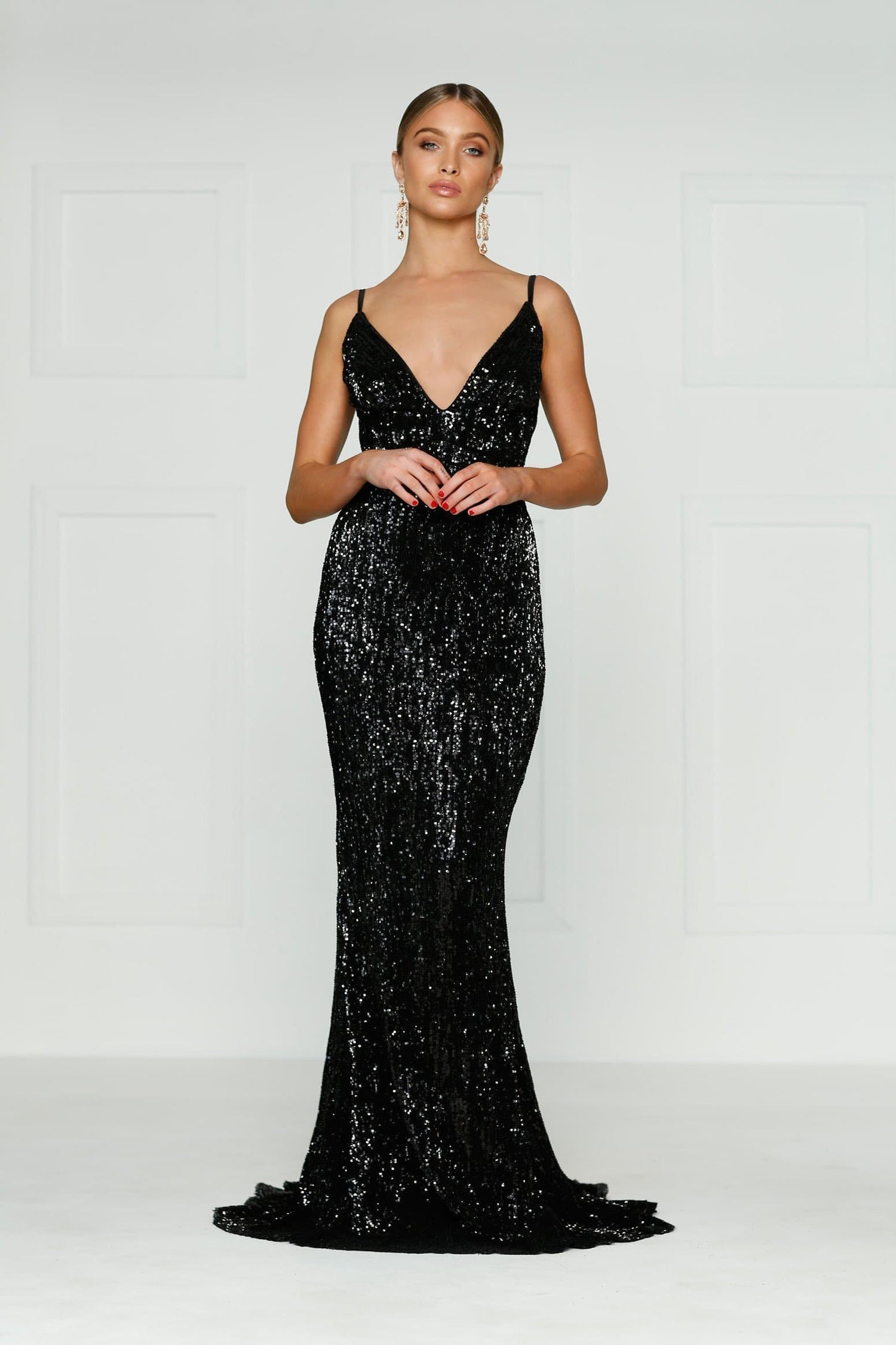 A&N Cynthia- Black Sequinned Gown with V Neck and Low Back