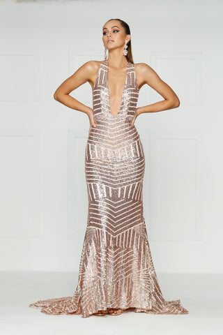A&N Alia - Rose Sequins Dress with Plunge Neck and Low back