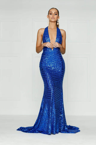 A&N Alia - Royal Blue Sequins Gown with Plunge Neck and Low Back
