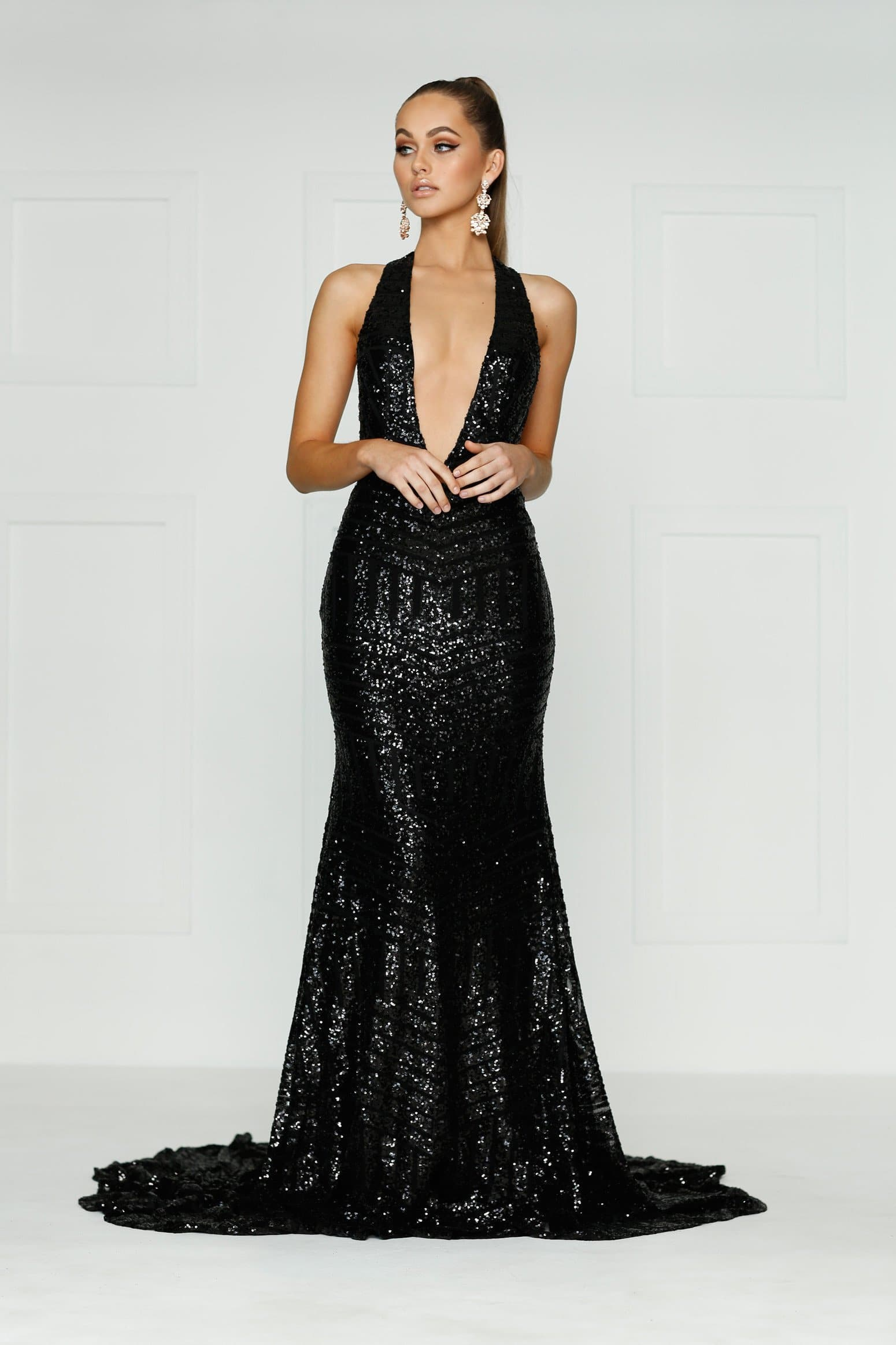 A&N Alia- Backless Multiway Dress with Plunge Neck