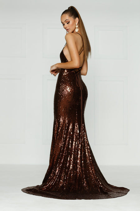 Andriana Sequin Gown - Chocolate Brown