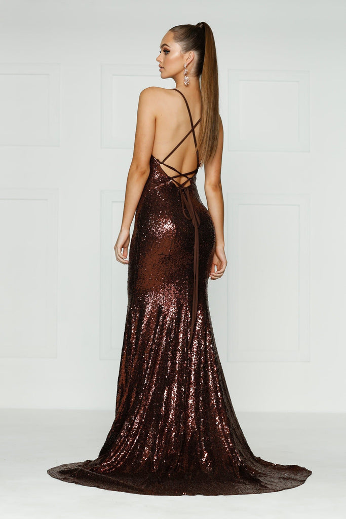 Kendall Formal Dress - Chocolate Brown Sequins V Neck Full Length Gown