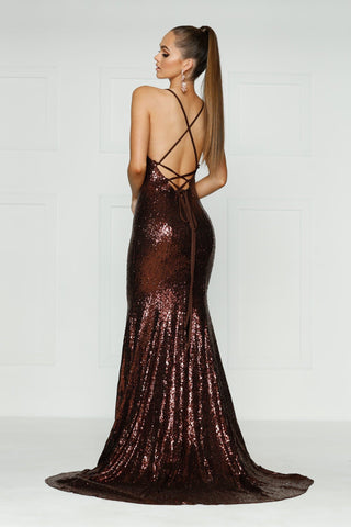 A&N Kendall - Chocolate Brown Sequin Dress with Criss Cross Back