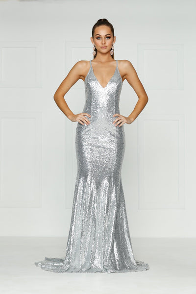 Kendall Formal Dress - Silver Sequins V Neck Tie Back Full Length Gown