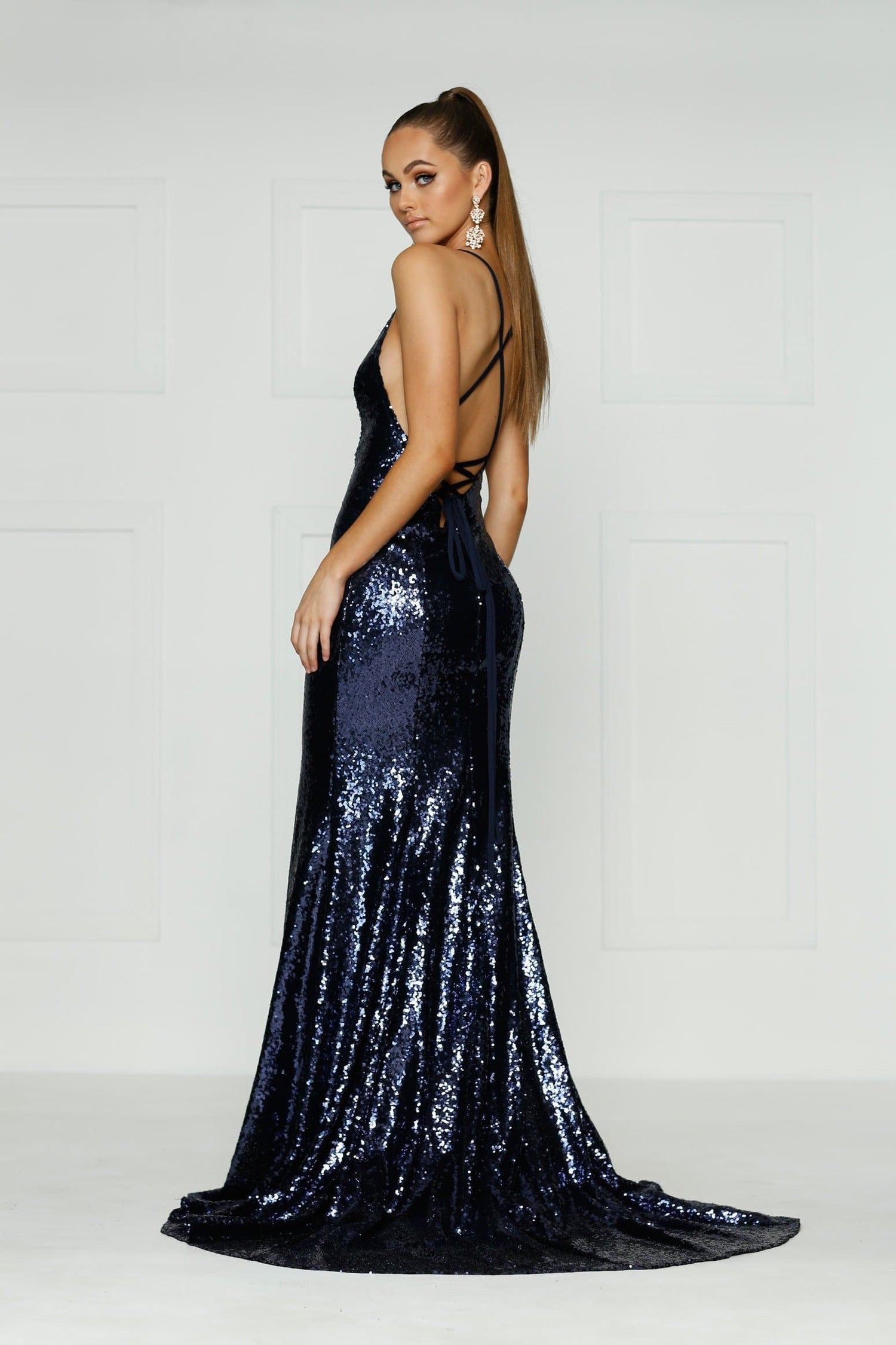 A&N Kendall - Navy Sequin Dress with V Neck and Criss Cross Back