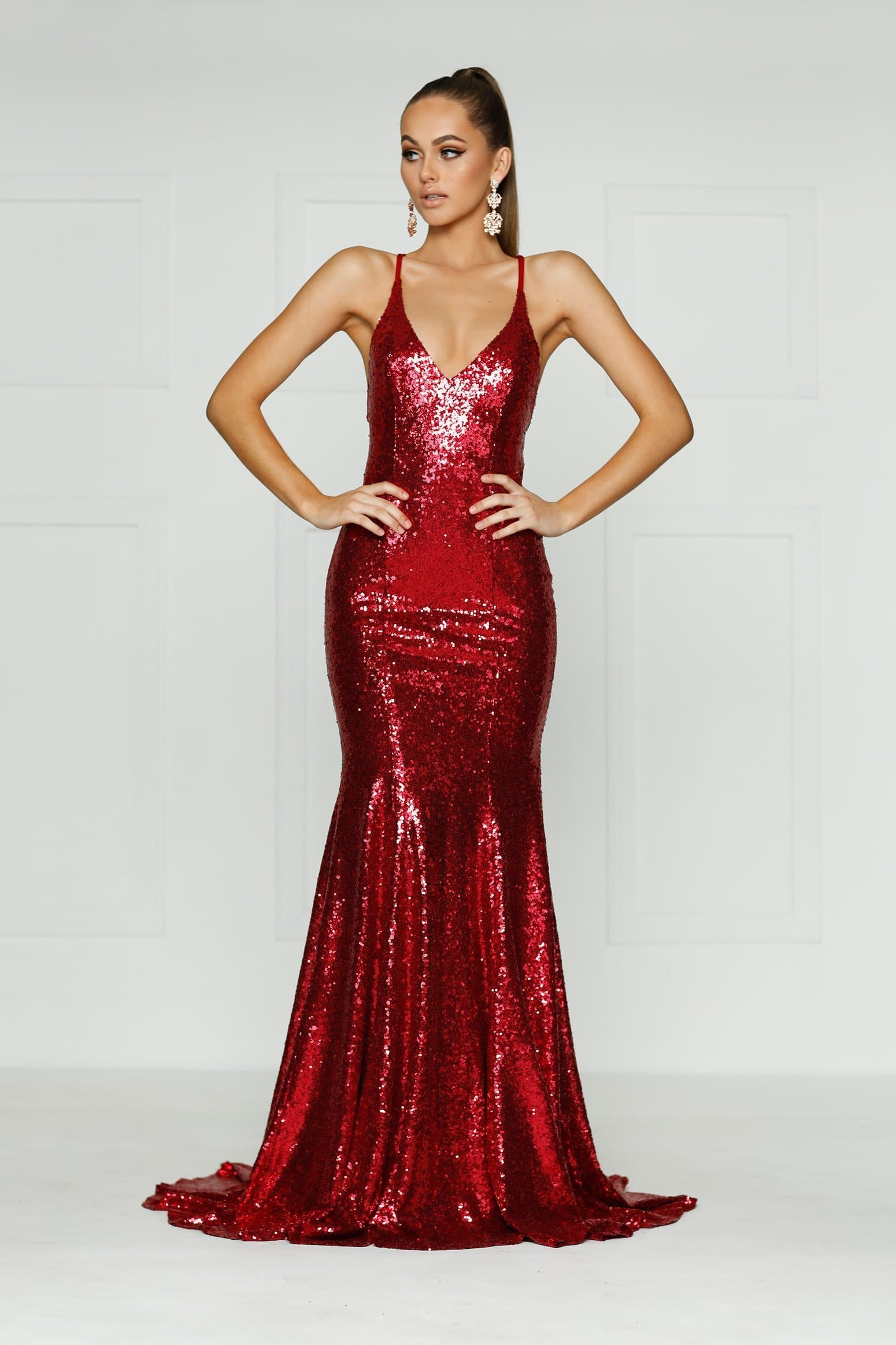 A&N Kendall - Red Sequin Gown with V Neck and Criss Cross Back