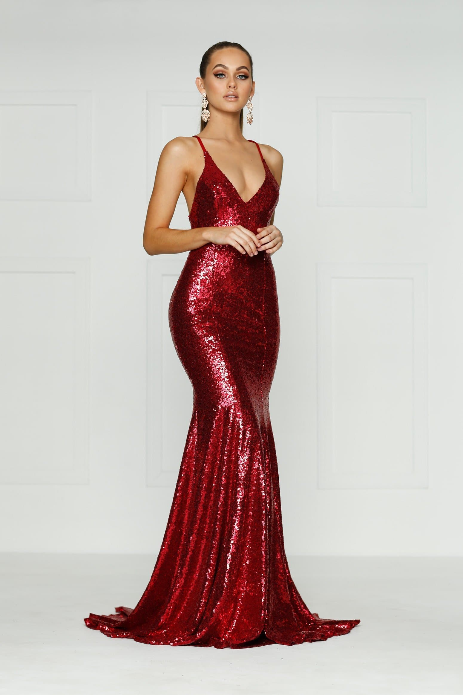 Kendall Formal Dress - Deep Red Sequins V Neck Tie Back Full Length Gown