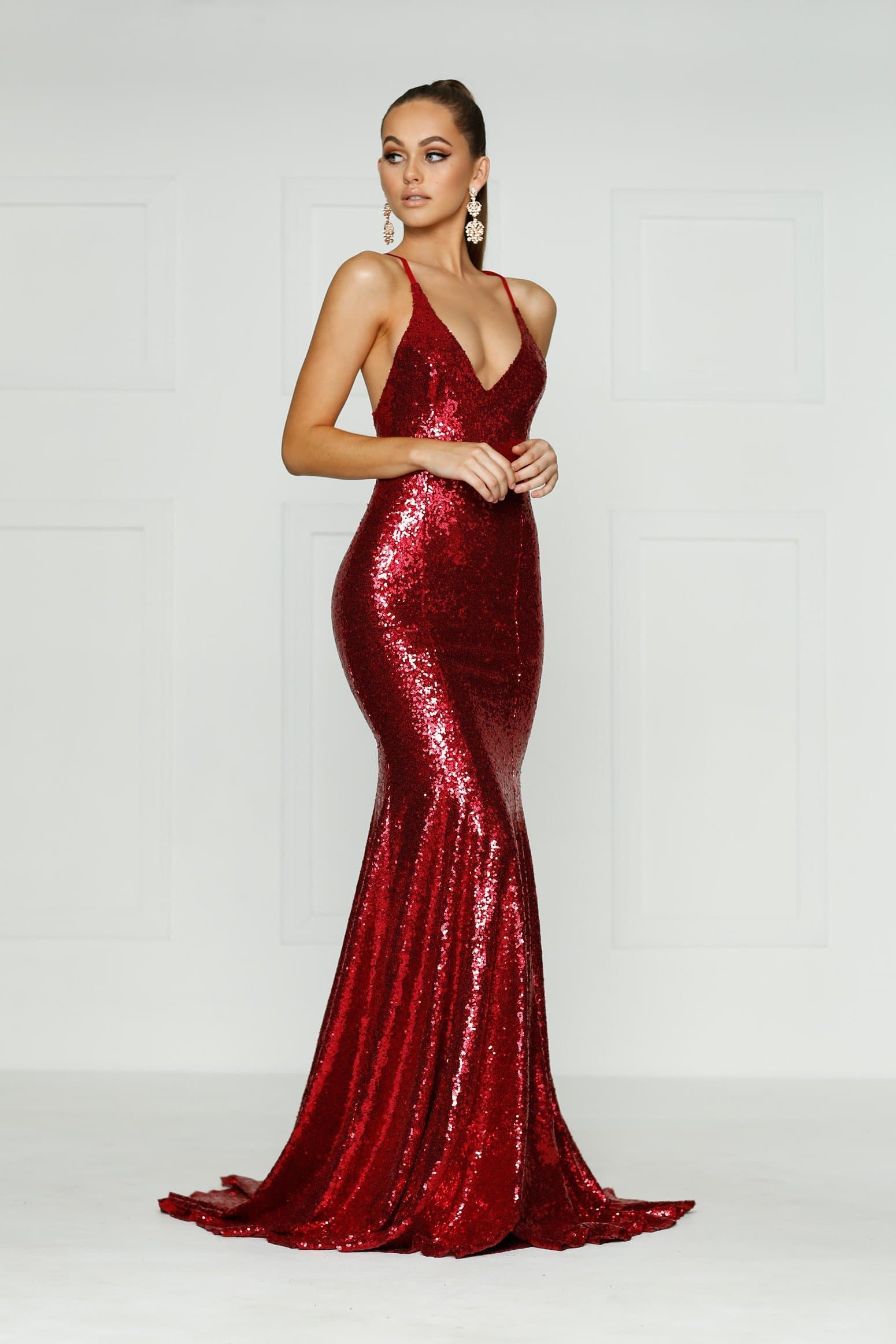 A&N Kendall - Red Sequin Gown with V Neck and Criss Cross Back – A&N ...
