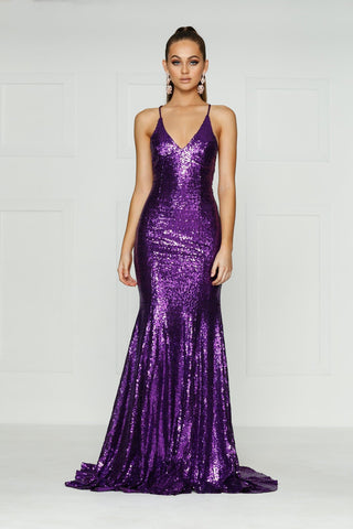 A&N Kendall - Purple Sequin Formal Gown with Criss Cross Back