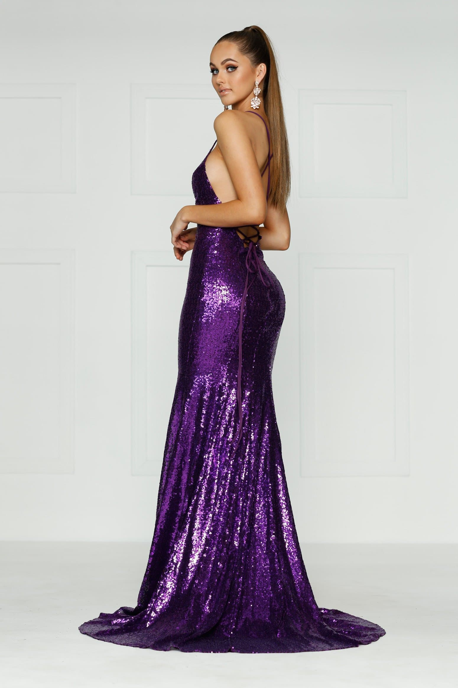A&N Kendall - Purple Sequin Formal Gown with Criss Cross Back – A&N ...