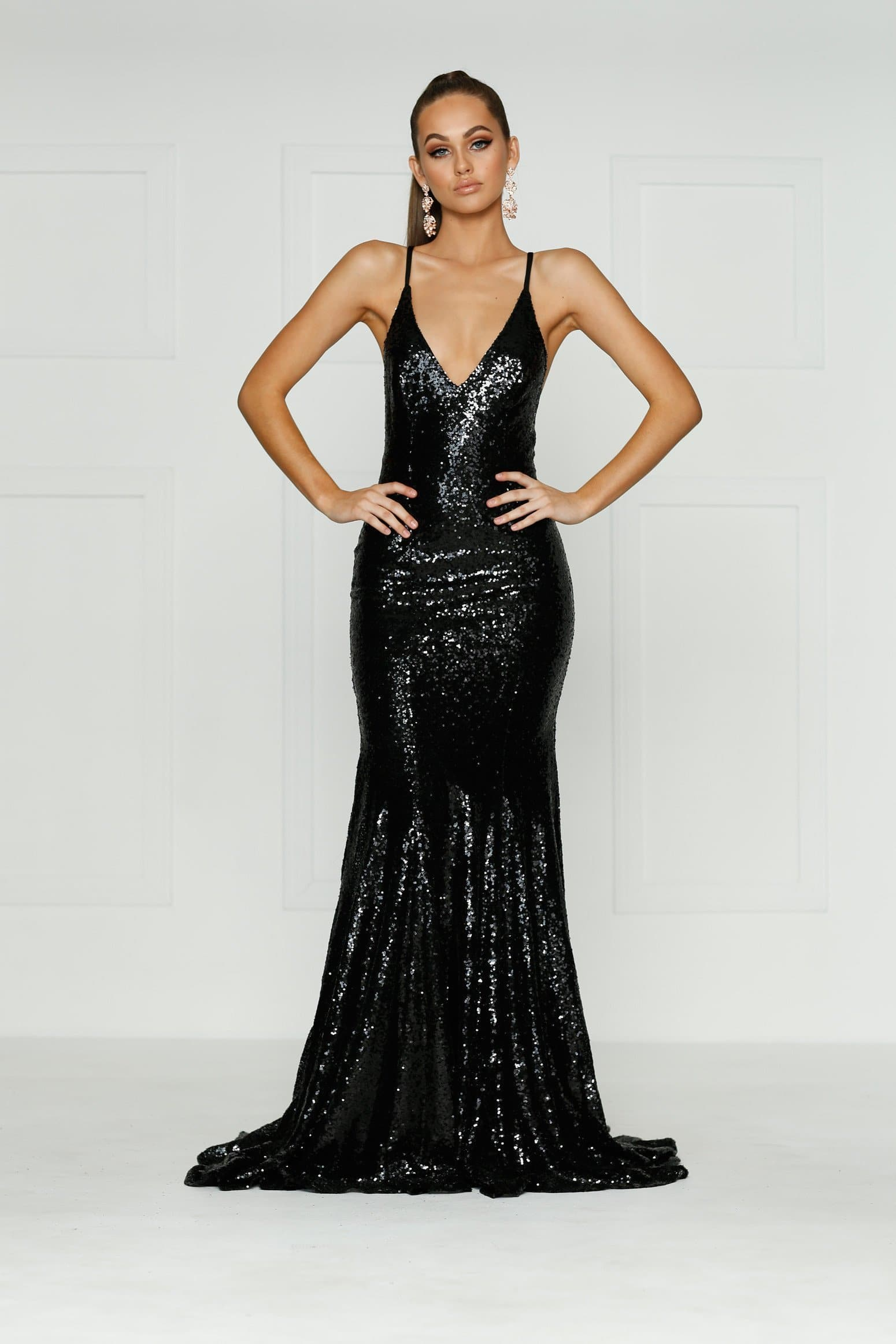 Kendall Formal Dress - Black Sequins V Neck Tie Back Full Length Gown