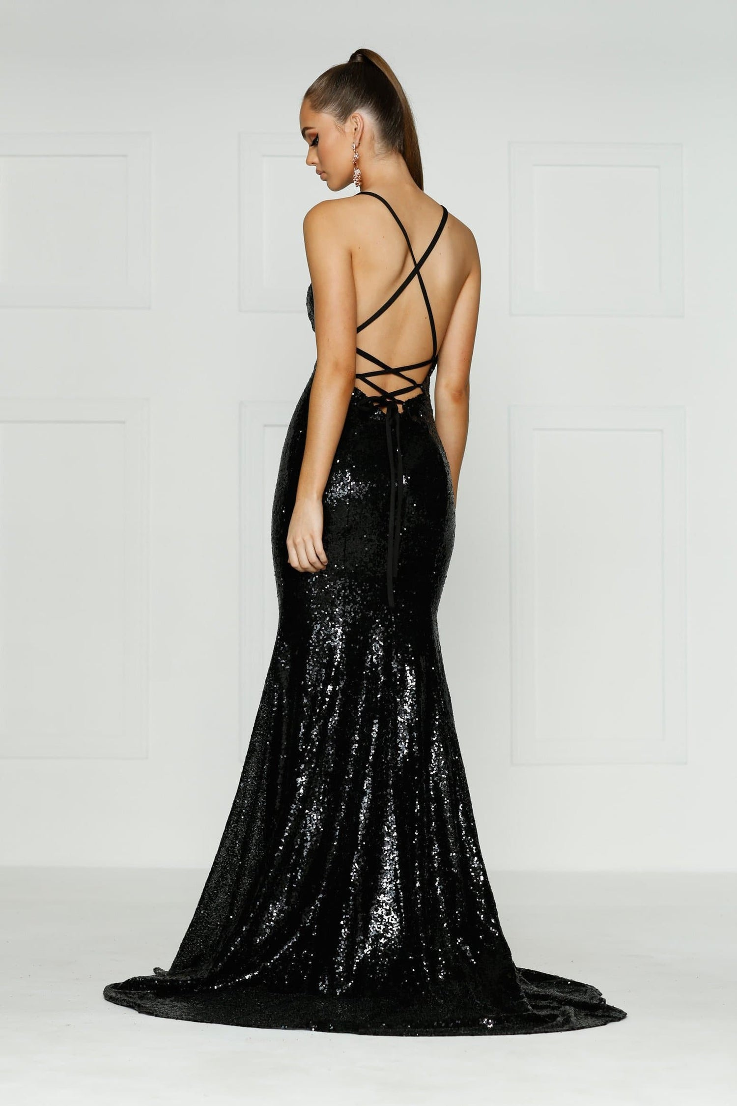 c5ef32e9 A&N Kendall - Black Sequin Dress with V Neck and Criss Cross Back ...