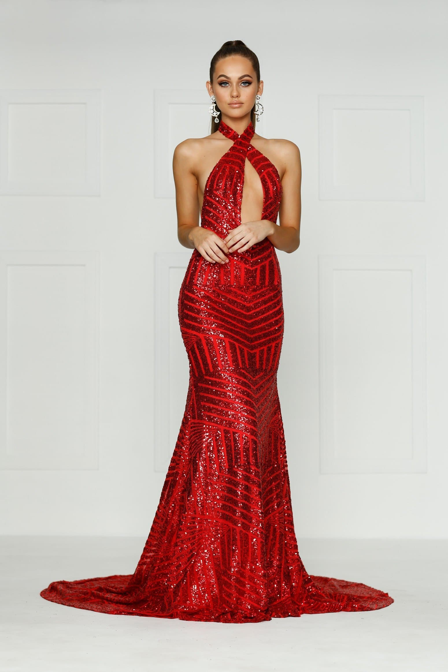 Alia Formal Gown - Red Sequins V Neck Multi Way Maxi Prom Gown
