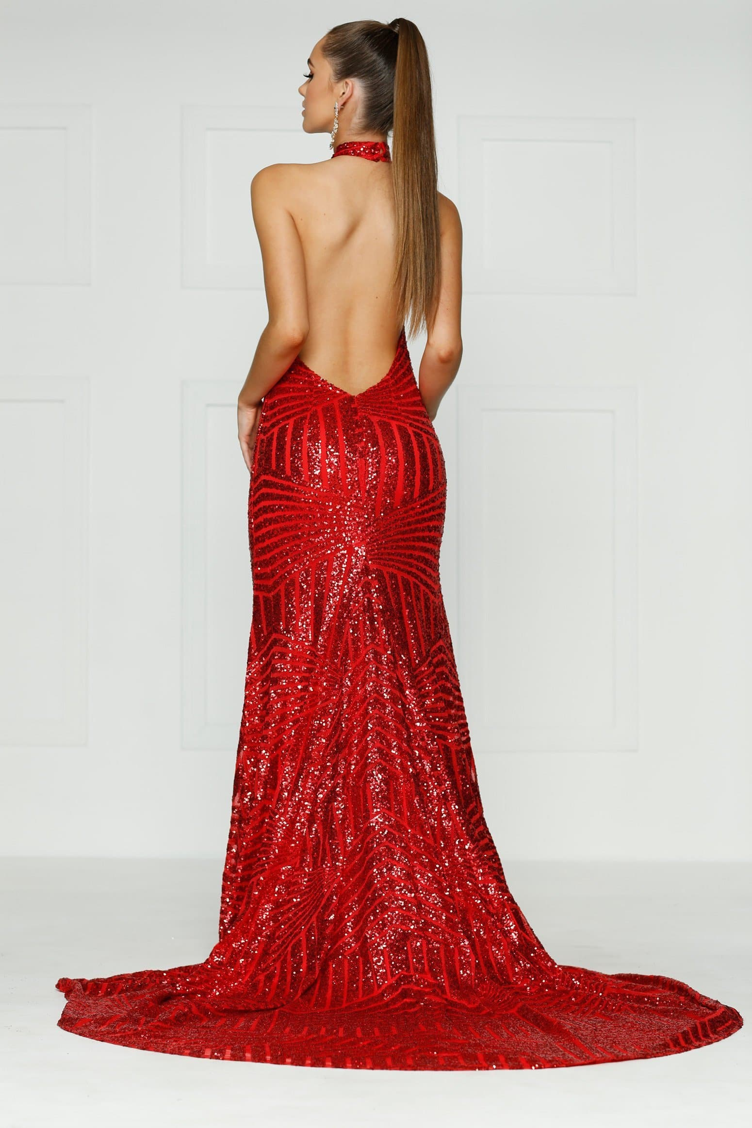 A&N Alia- Red Sequins Dress with Plunge Neck and Low Back