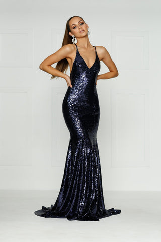 A&N Gigi -Navy Sequin Formal Dress with V Neck and Criss Cross Back