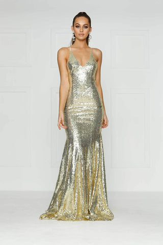 A&N Gigi- Champagne Sequinned Dress with V Neck and Criss Cross Back