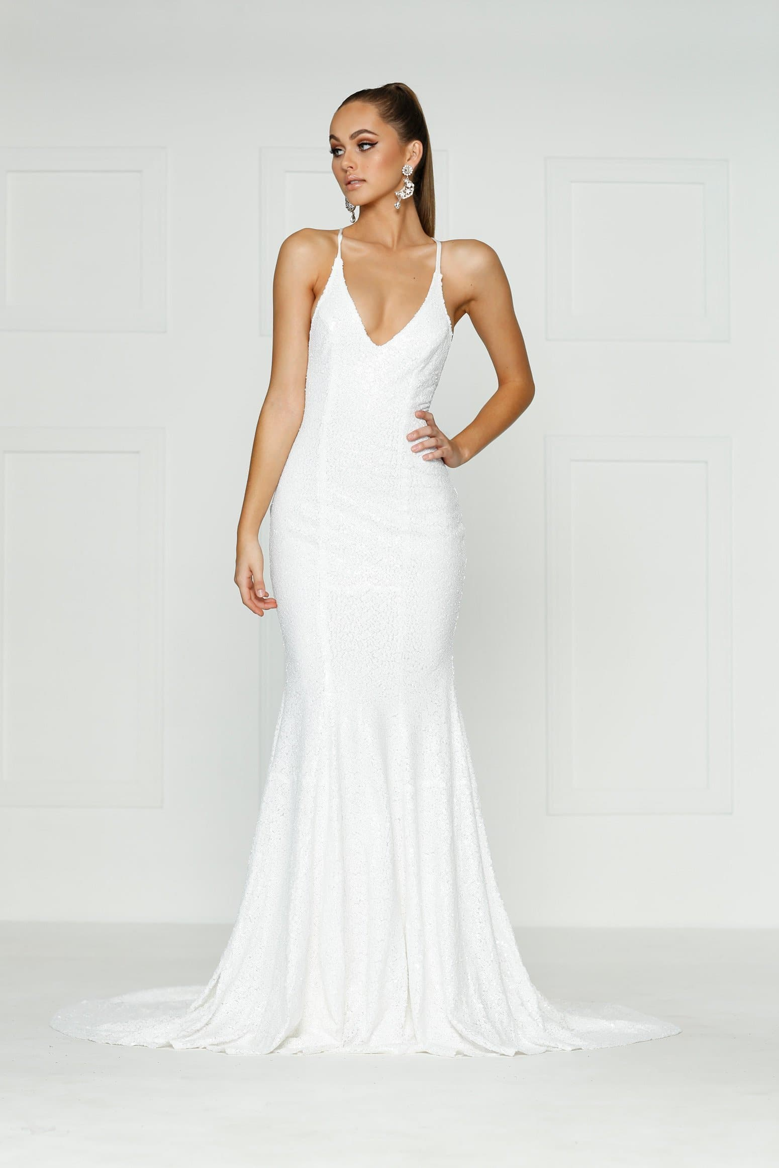 A&N Kendall - White Sequin Dress with Criss Cross Back and V Neck ...