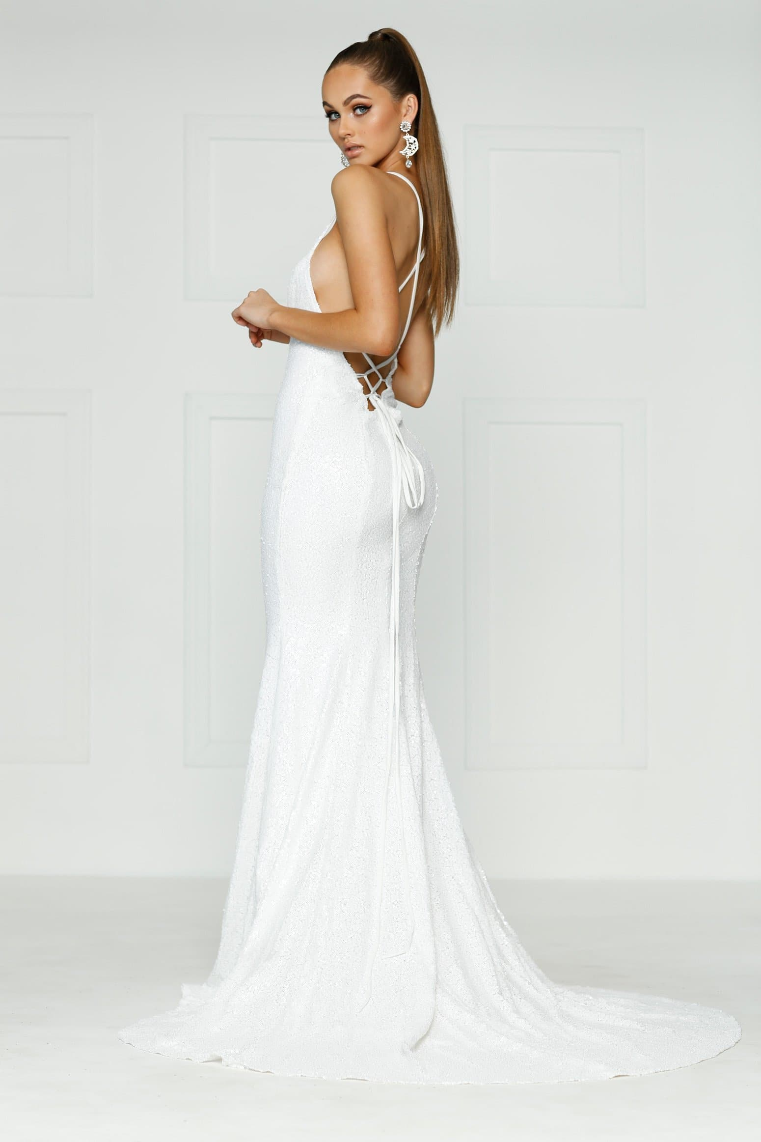 Kendall Formal Dress - White Sequins V Neck Tie Back Full Length Gown