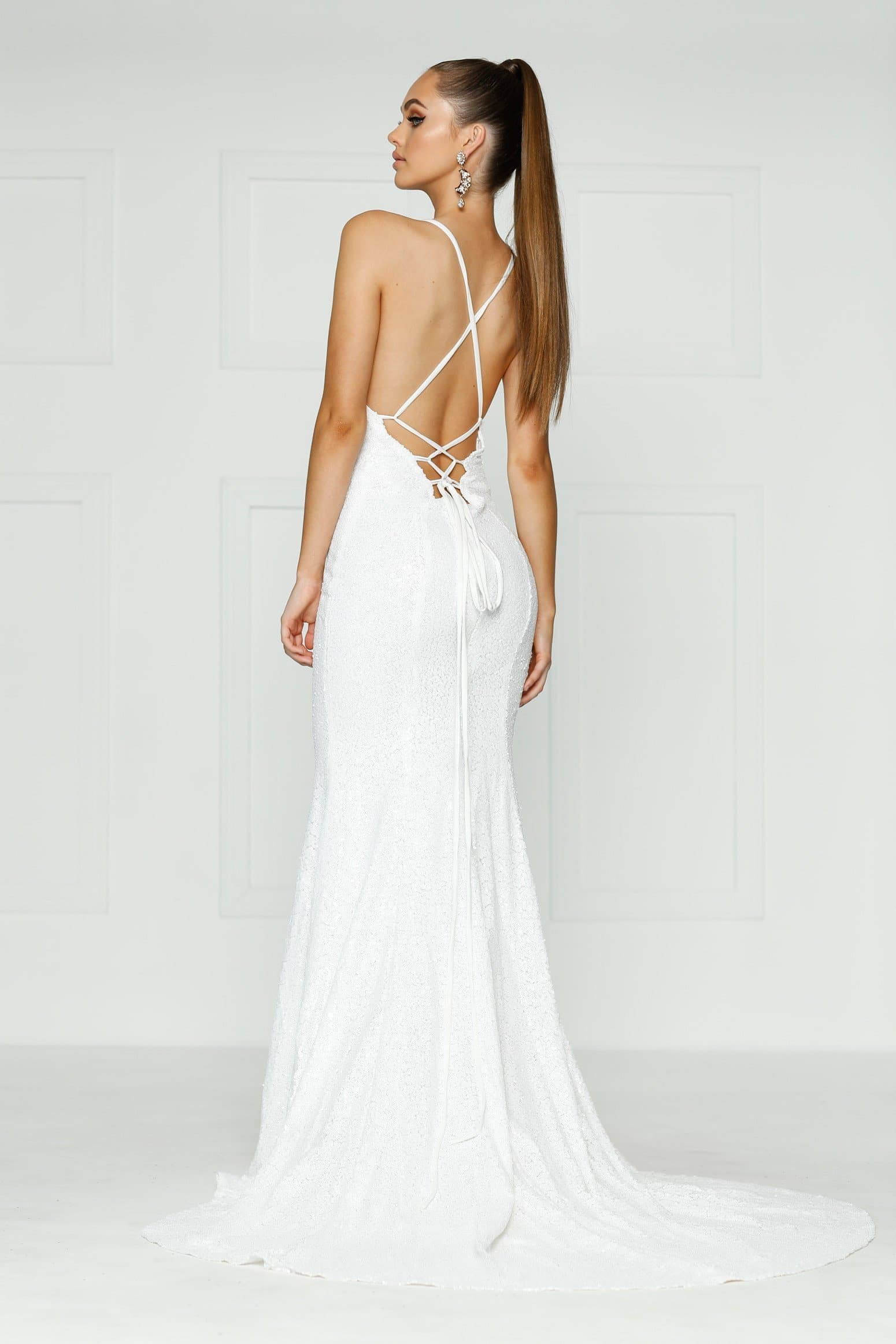 A&N Kendall - White Sequin Dress with Criss Cross Back and V Neck