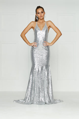 A&N Gigi- Silver Sequin Dress with V Neck and Criss Cross Back