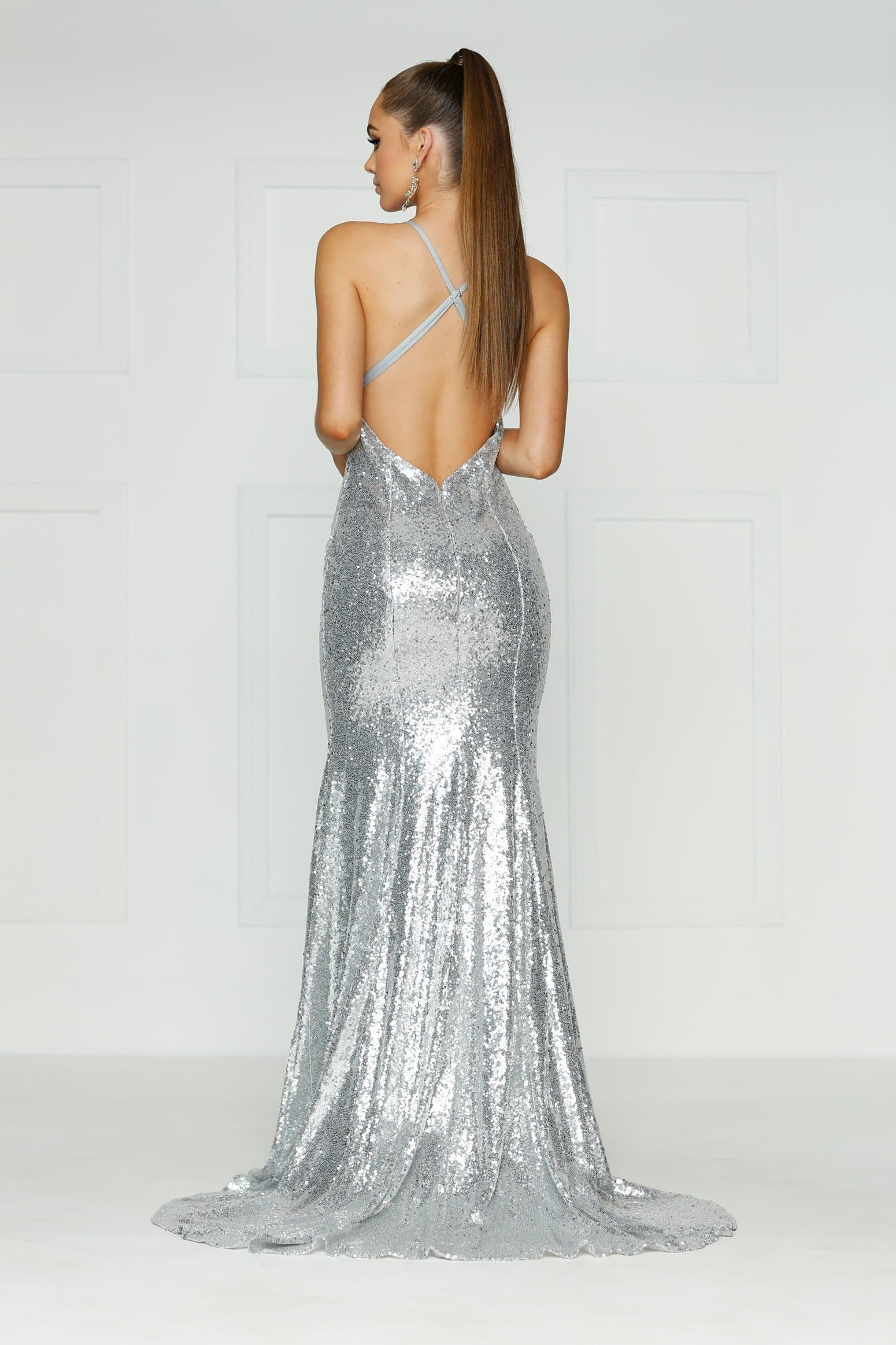 A&N Gigi- Silver Sequin Dress with V Neck and Criss Cross Back – A&N ...