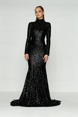 A&N Liz - Black High Neck Sequins Gown with Long Sleeves