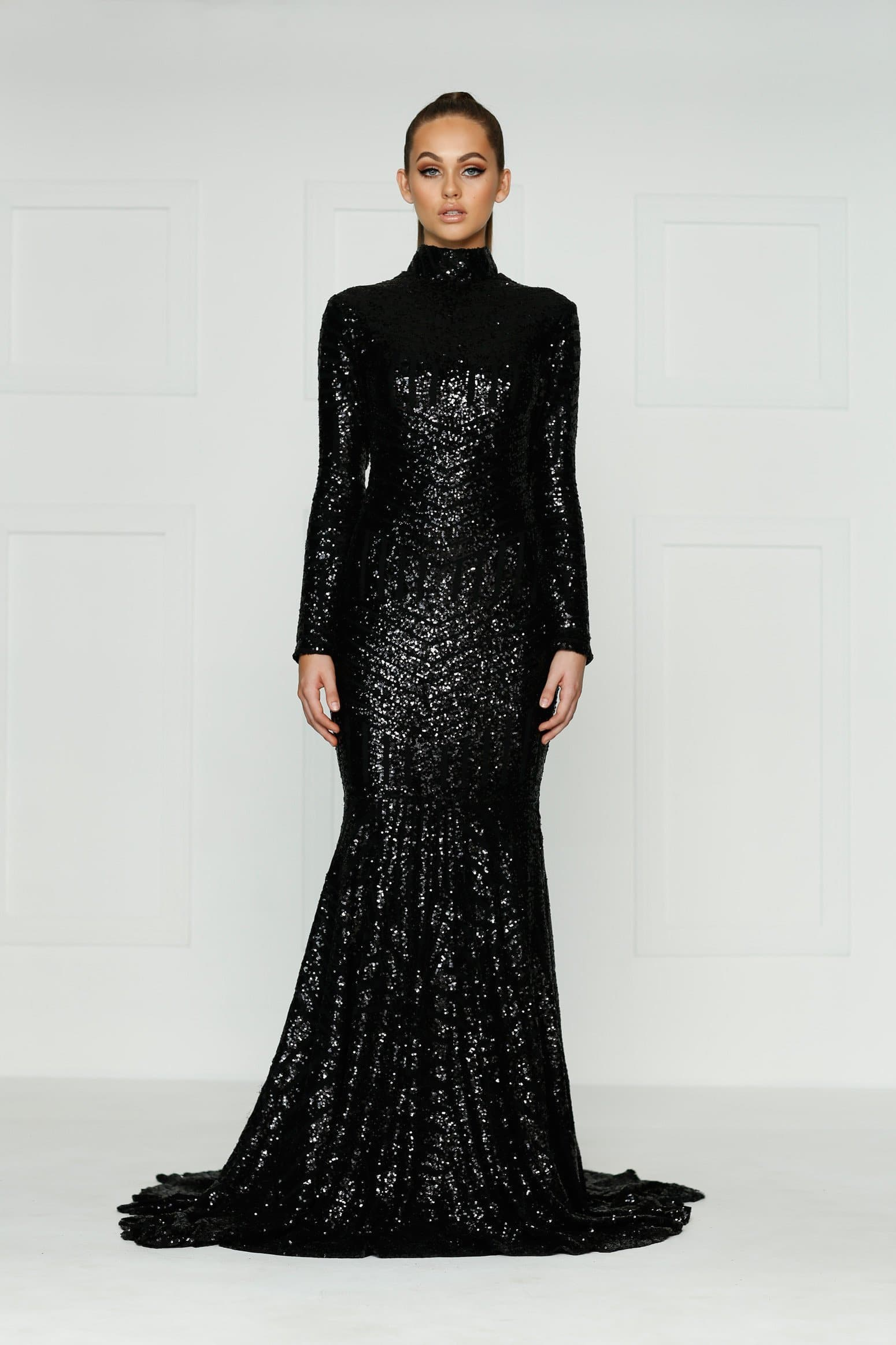 Liz Formal Dress - Black Sequins Long Sleeve High Neck Mermaid Gown