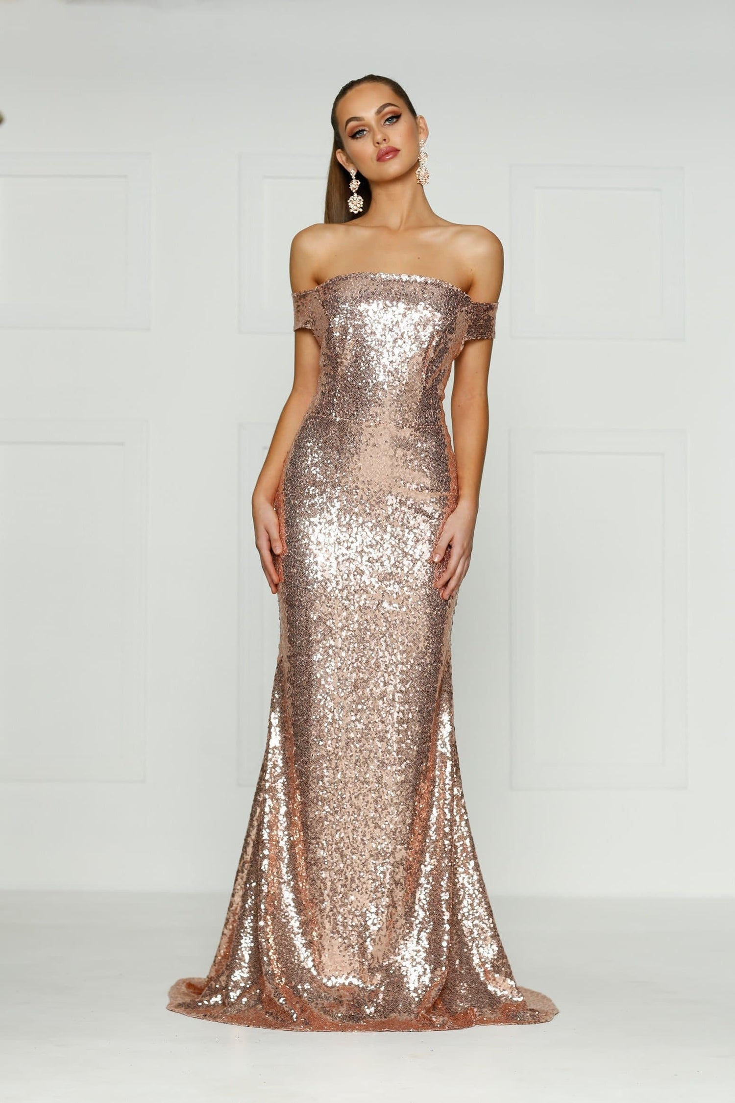 A&N Jacqui- Off-Shoulder Sequin Dress with Low Back in Rose Gold