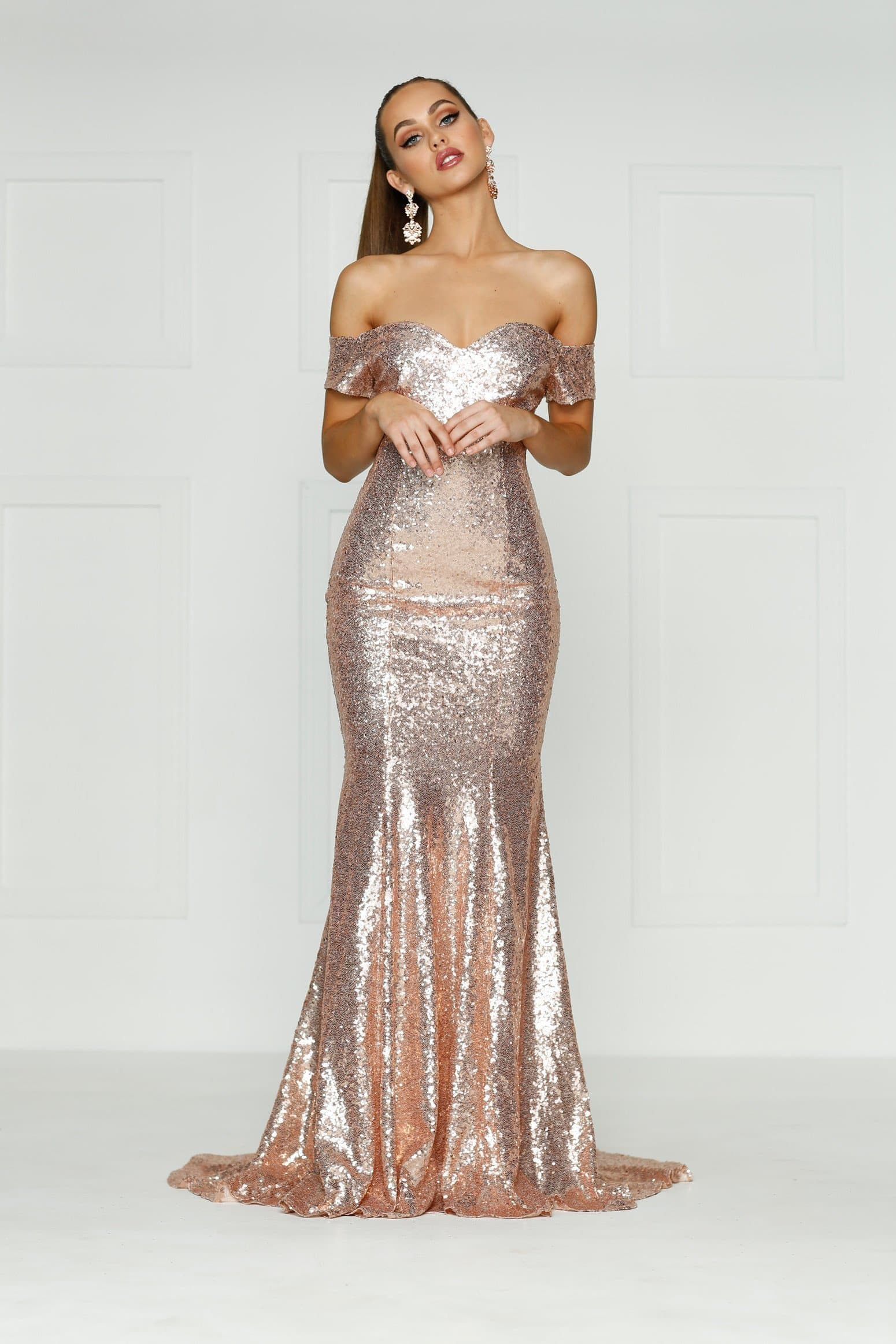 06b3eb4efdeb A N Kim - Rose Gold Off-Shoulder Dress with Mermaid Train – A N Luxe ...