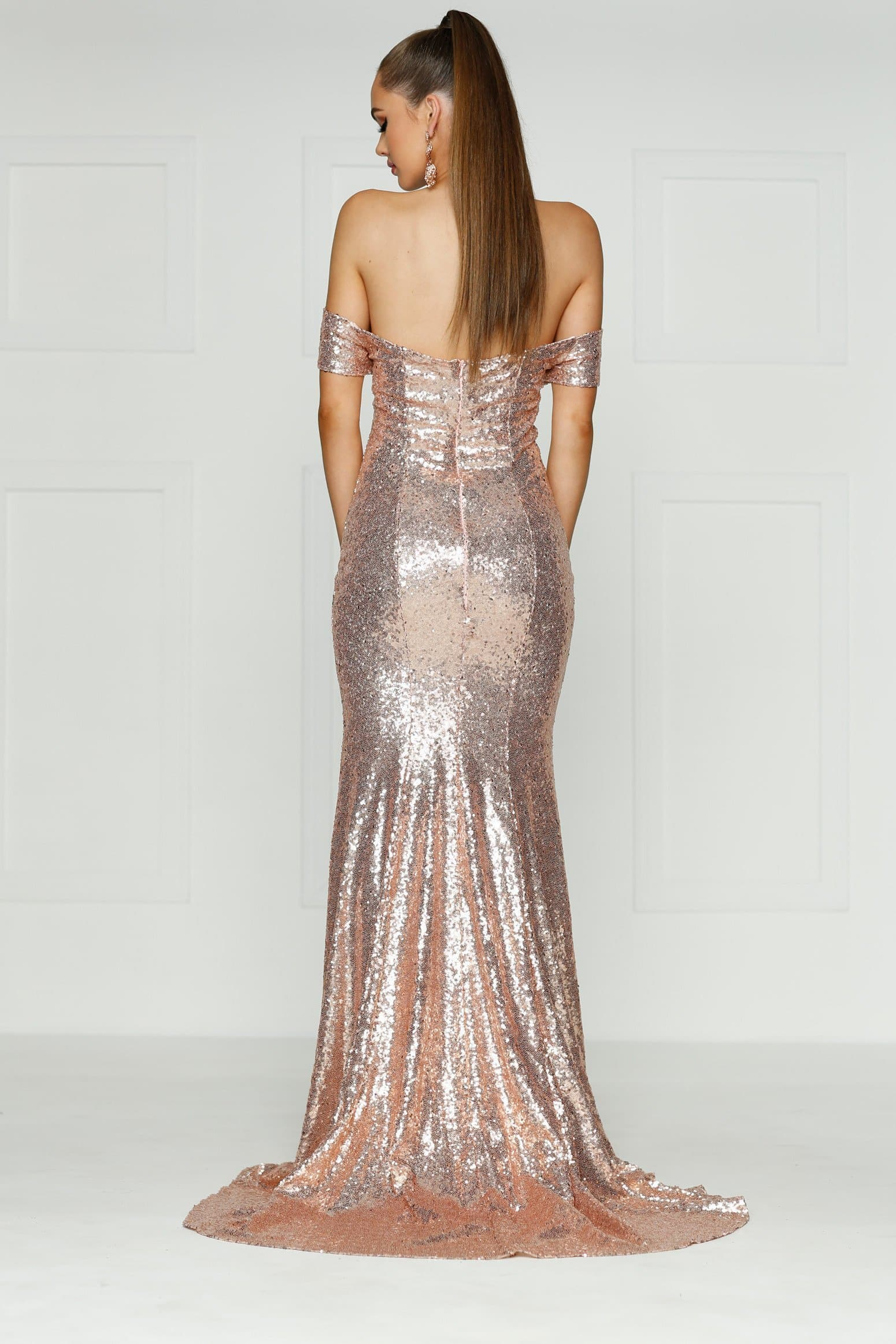A&N Kim - Rose Gold Off-Shoulder Dress with Mermaid Train