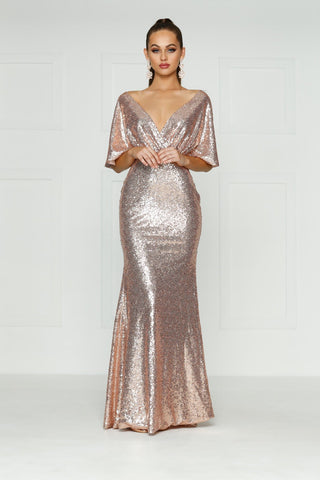 A&N Lily - Rose Gold Backless Sequins Gown with Cape Sleeve