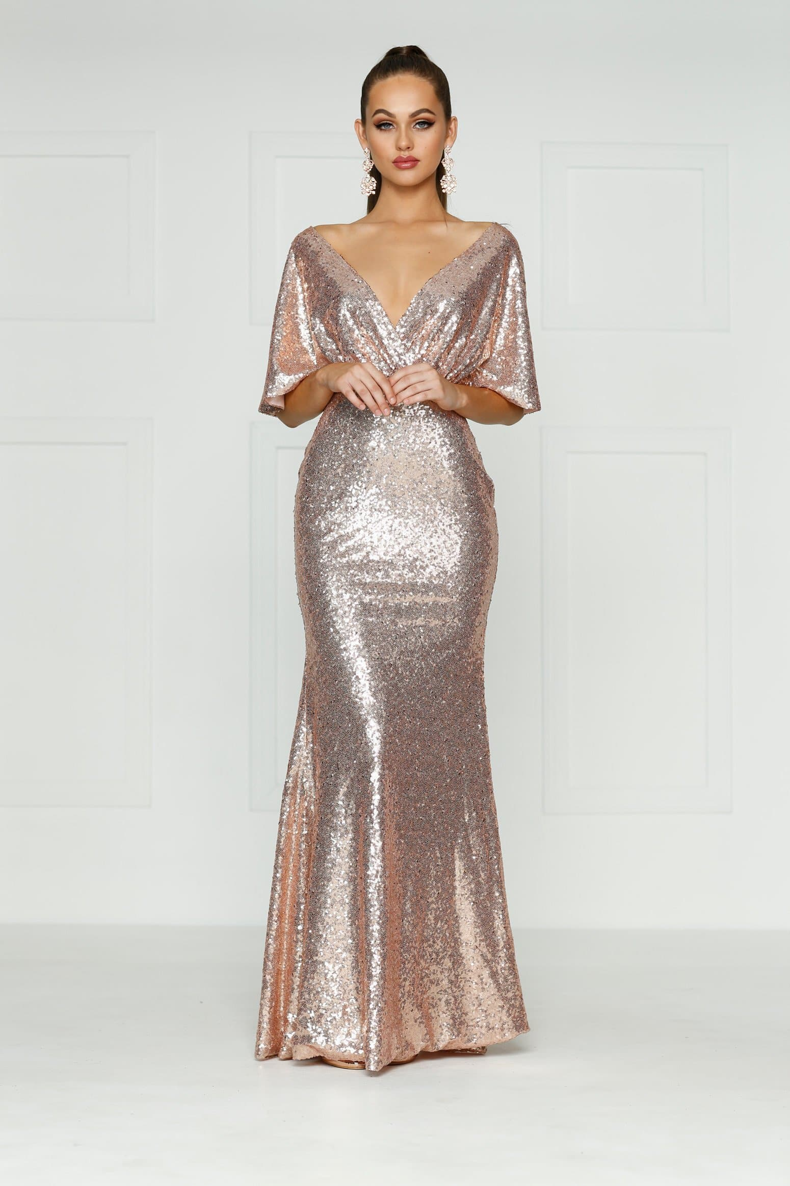 A&N Lily - Rose Gold Sequins Dress with Cape Sleeves and Mermaid Train
