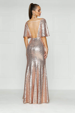 A&N Lily - Rose Gold Open Back Sequin Gown with Cape Sleeves