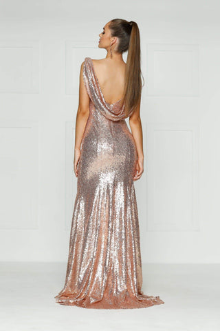 A&N Cici - Rose Gold Sequinned Dress with High Neck and Cowl Back