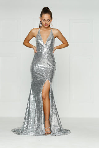 A&N Kylie- Silver Sequin Dress with Low Back and Side Slit