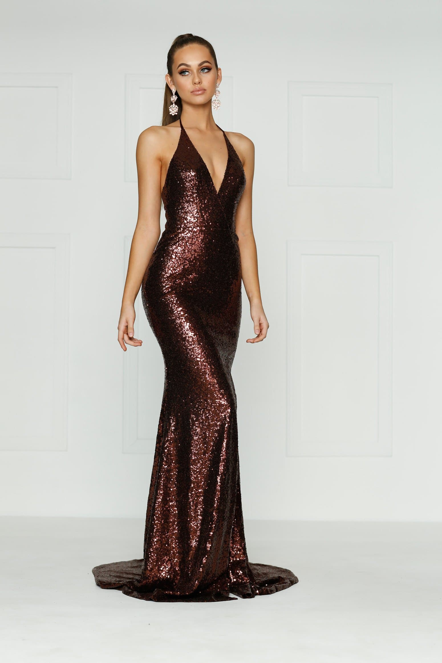 A&N Kylie- Chocolate Brown Sequin Dress with Low Back and Side Slit