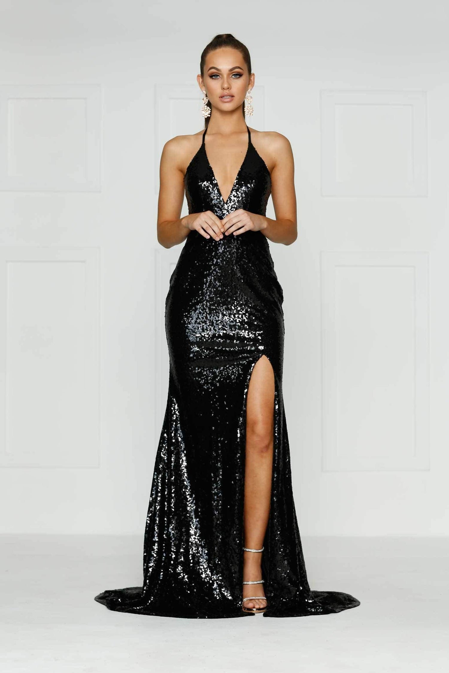 A&N Kylie- Black Sequin Dress with Low Back and Side Slit