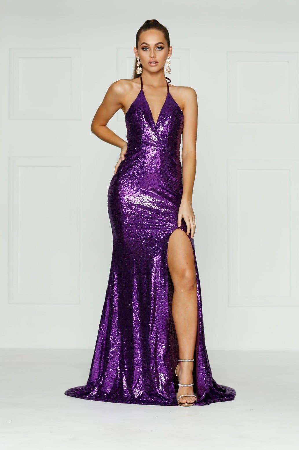 A&N Kylie- Purple Sequin Dress with Low Back and Side Slit