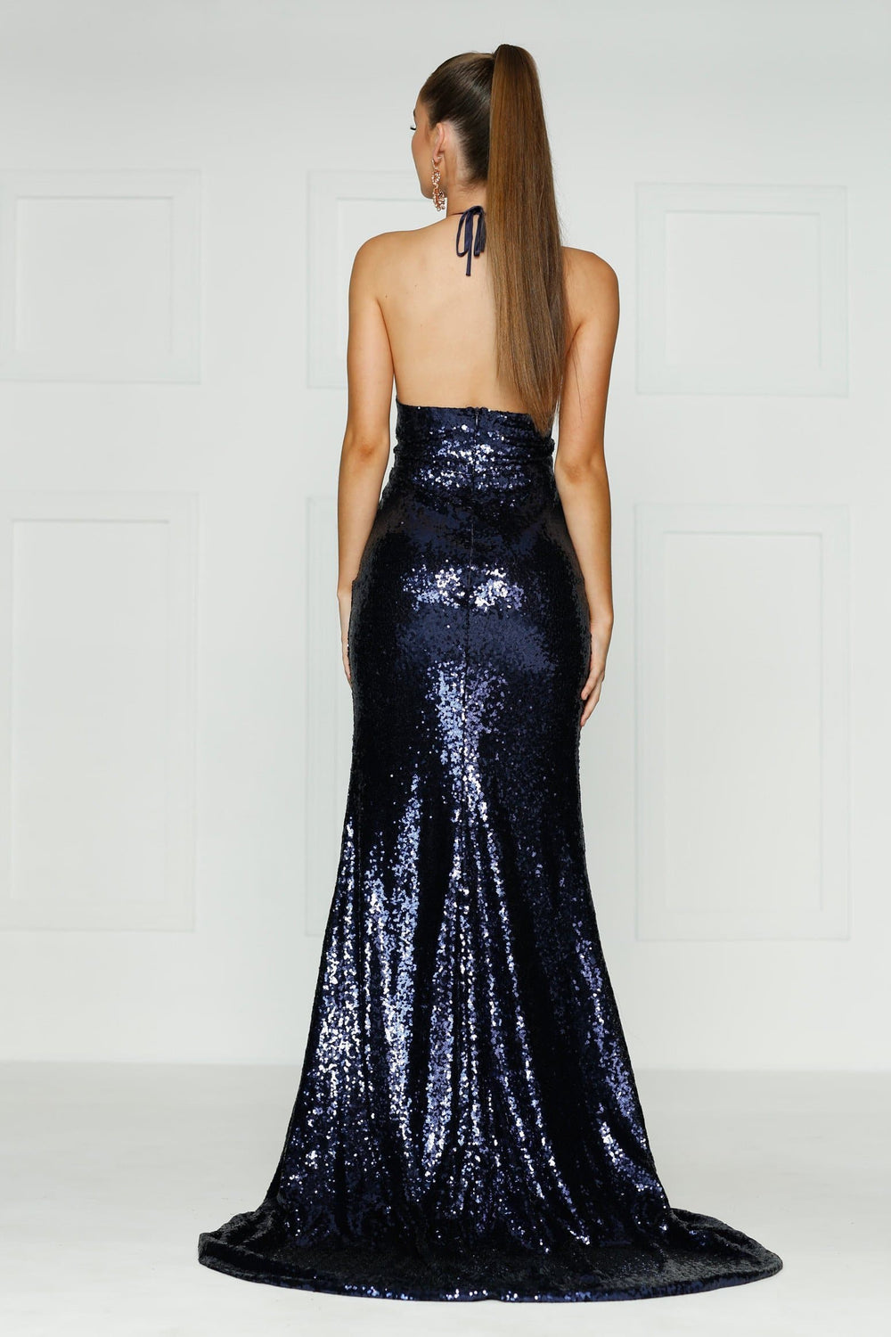 A&N Kylie- Navy Sequin Dress with Low Back and Side Slit