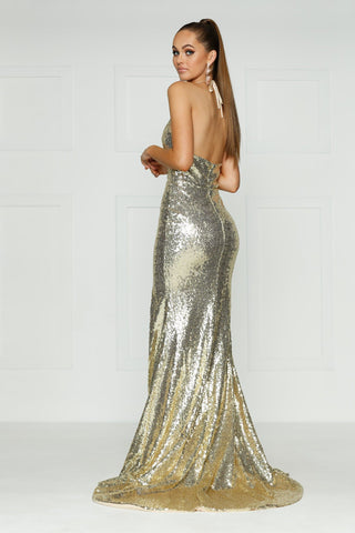 A&N Kylie- Champagne Sequin Dress with Low Back and Side Slit
