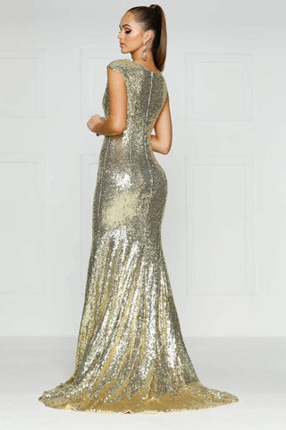 A&N Lila - Champagne Sequin Gown with High Neck and Side Slit