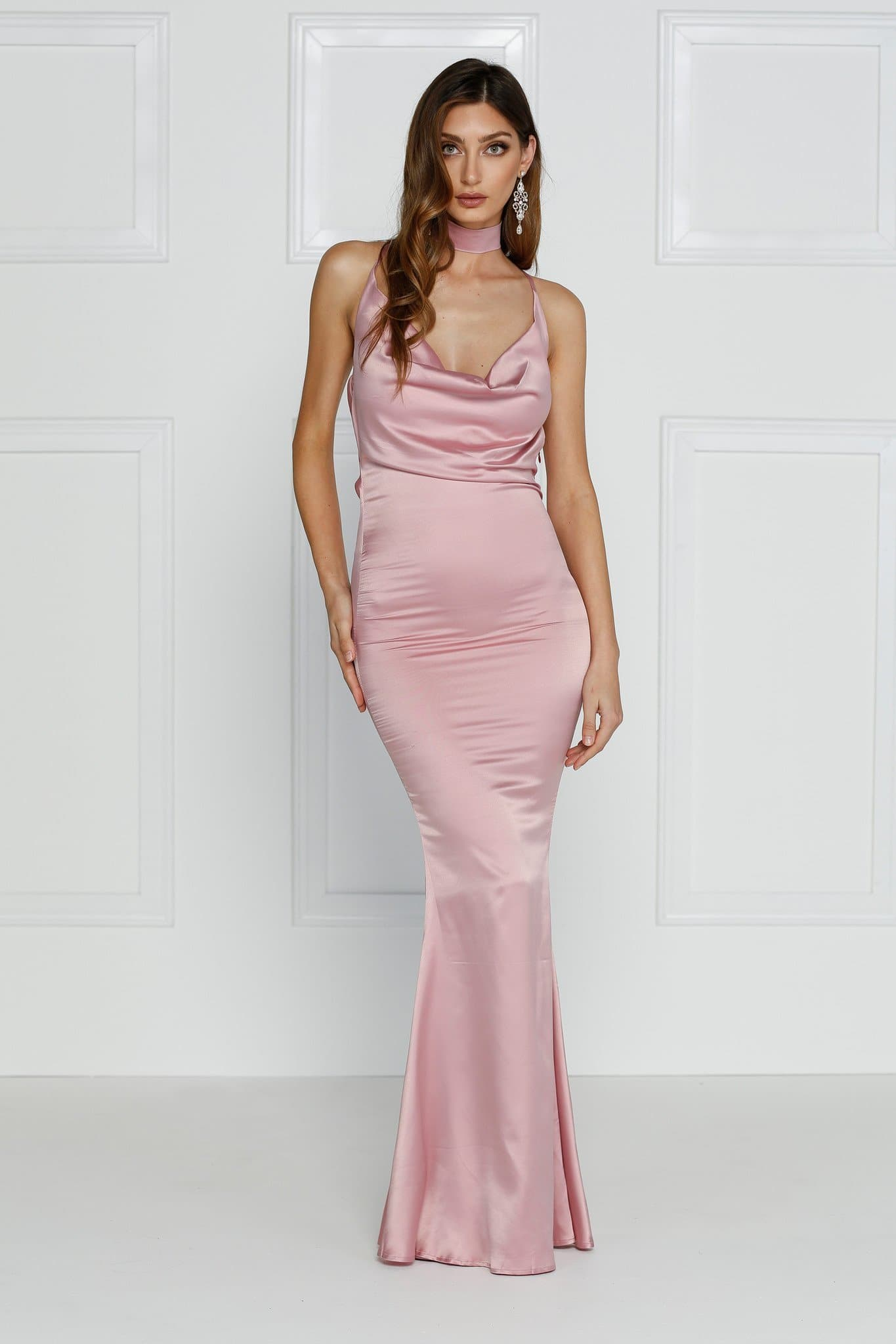 Crisantemi - Dusty Pink Satin Dress with Cowl Neckline & Low Back