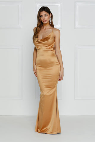 Crisantemi - Gold Satin Dress with Cowl Neckline and Low Back