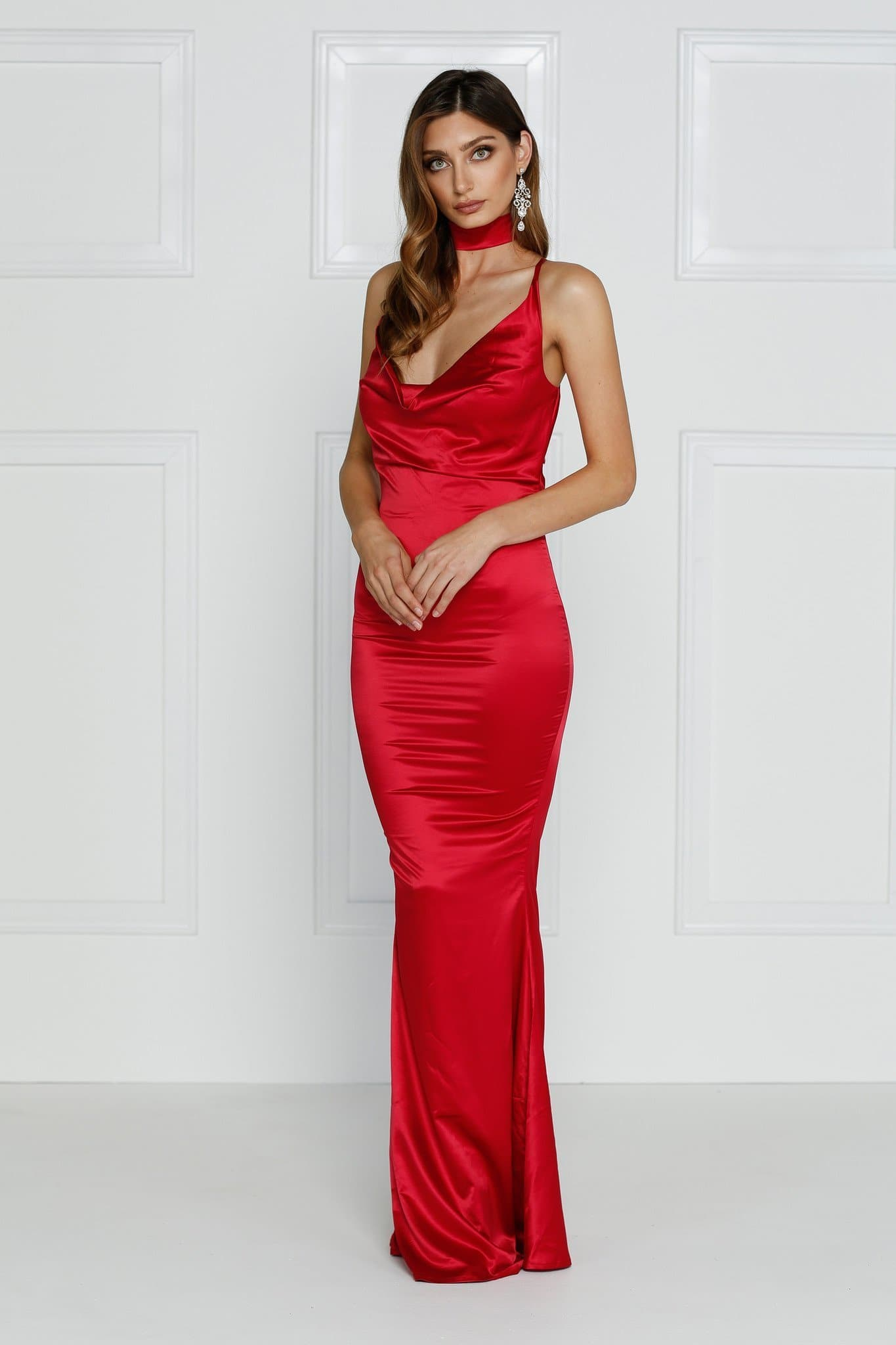 9892d23d506b Crisantemi - Cherry Red Satin Gown with Cowl Neckline & Mermaid Train ...