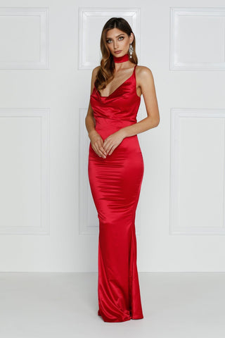 Crisantemi - Cherry Red Satin Gown with Cowl Neckline & Mermaid Train